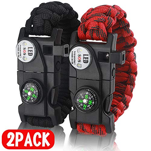 IMPHOM Survival Bracelet Paracord Military Bracelet Buckle Tool Adjustable Rope Accessories Kit, Fire Starter, Knife, Compass, LED Light,Whistle,for Fishing Hiking Travel Camp(2pcs) Black+Red ... -