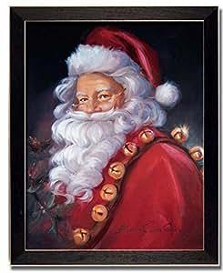 Santa claus jingle bells framed art print for Christmas wall art amazon
