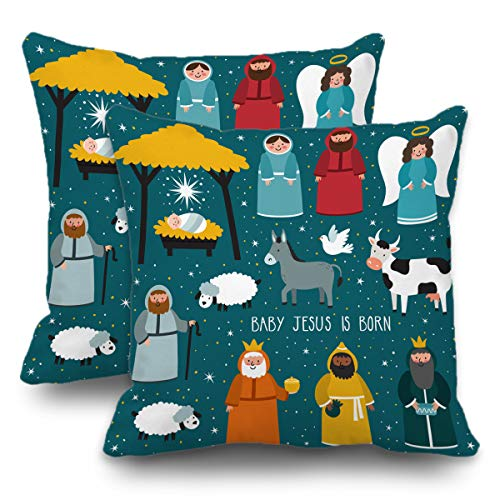 Batmerry Set of 2 Merry Christmas Decorative Pillow Covers 18x18 inch,Nativity Cute Holiday Jesus Christmas Cartoon Baby Scene Double Sided Throw Pillow Covers Sofa Cushion Cover