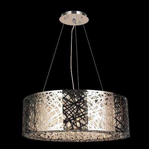 Wide Oval Pendant Chandelier (Worldwide Lighting Aramis Collection 10 Light Chrome Finish and Clear Crystal Drum Oval Chandelier 24