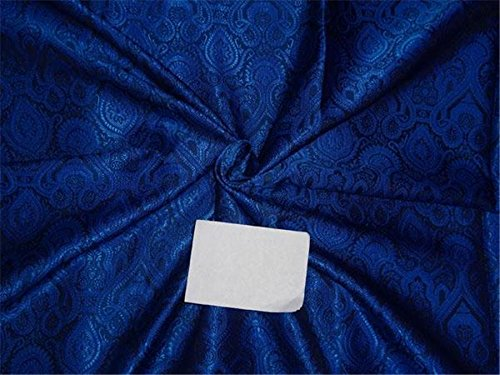 puresilks SILK BROCADE FABRIC ROYAL BLUE X BLACK COLOR 44