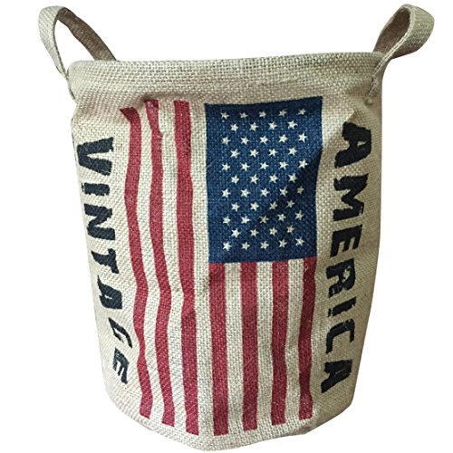 Coralpearl Foldable Round Woven Jute Linen Vintage Storage Basket Bin Handle Holder Organizer Bucket Hamper for Shelves Bathroom Desk Closet Garage Office Kids Room Toys Large With Flags (America) (Vintage Dog Food Container)