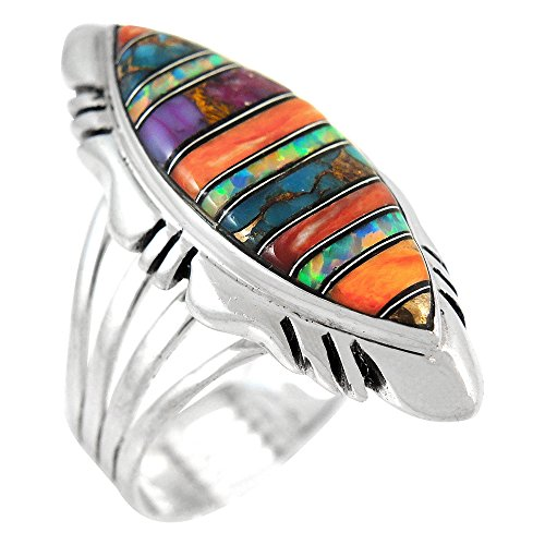 Sterling Silver Gemstone Ring with Genuine Turquoise (SELECT color) (Multi, (Genuine Multi Gems)