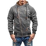 iLXHD Men's Autumn Long Sleeve Zipper Hooded Sweatshirt Outwear Tops Pullover(Dark Gray,L)