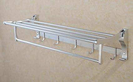 BBSLT Aluminio de espacio dobla el estante de toalla de baño toalla estante con aluminio de