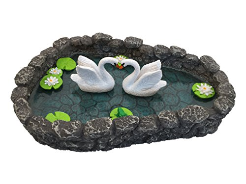 Swan Miniature Pond – LOVE is in the air! A Miniature Swan Lake for a Miniature Fairy Garden and Miniature Garden Accessories by GlitZGlam For Sale