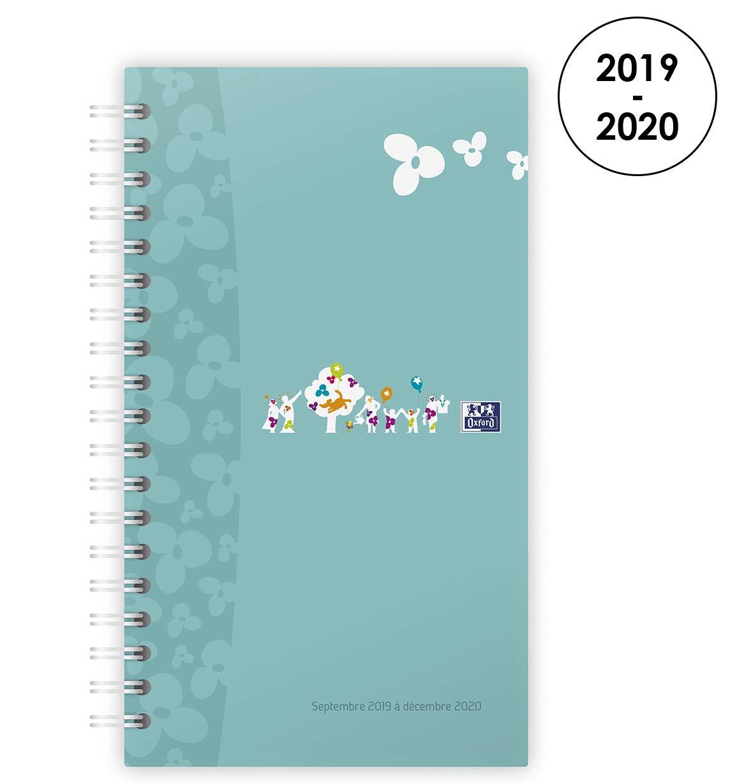 Oxford Agenda Famille 2019 - 2020 de Sept à Déc (16Mois) 1 Semaine sur 2 Pages Format 25x12 Bleu