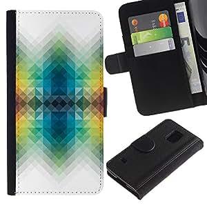 LASTONE PHONE CASE / Lujo Billetera de Cuero Caso del tirón Titular de la tarjeta Flip Carcasa Funda para Samsung Galaxy S5 V SM-G900 / Vibrant White Polygon Colors