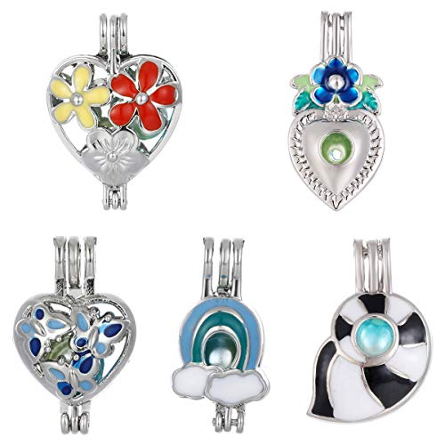 (Mixed 10pcs Colorful Enamel Pearl Cage Beads Cage Locket Pendant Aroma Essential Oil Diffuser Locket DIY Necklace Earrings Bracelet Jewelry Making Supplies (Enamel)