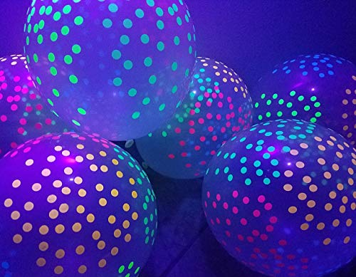 Blacklight Party Balloons - Clear Balloons with Mini Polka Dots That Glow in The Dark Under Black Light - 25 -