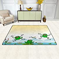 DEYYA Water Lily Funny Frog Non-slip Area Rugs Pad 60 x 39 inches, Modern Floor Mat Living Room Bedroom Carpets Doormats Home Decor