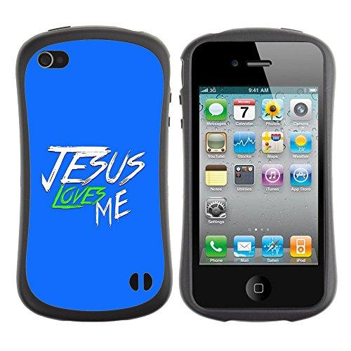 DREAMCASE Citation de Bible Silicone et Rigide Coque Protection Image Etui solide Housse T¨¦l¨¦phone Case Pour APPLE IPHONE 4 / 4S - JESUS LOVES ME
