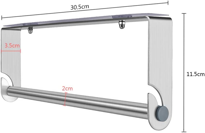 30.5cm//12/'/' 304 Stainless Steel Tissue Roll Hanger Towel Rack No Drilling//Wall Mounting Kitchen Roll Holder Self Adhesive Dispenser Paper Towel Holder Under Cabinet