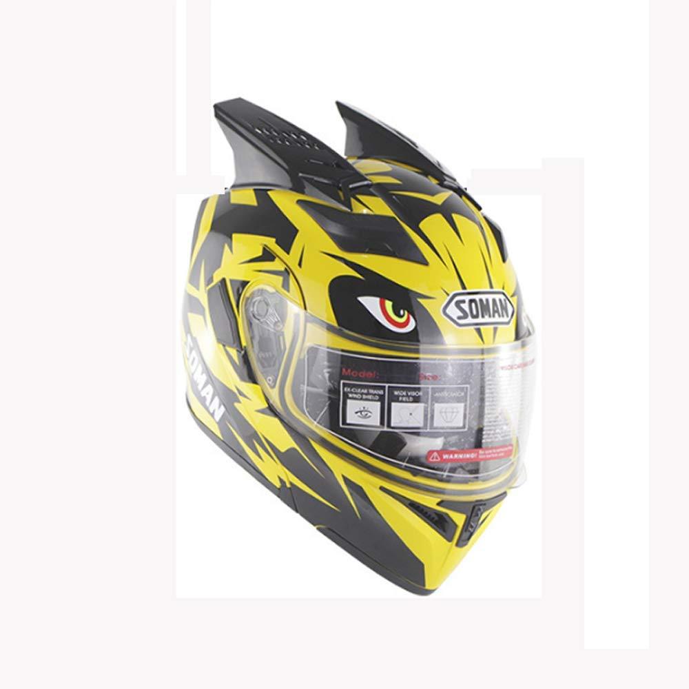 アダルトオフロードオートバイオールラウンドヘルメット、ダブルレンズモトクロスオープンフェイスヘルメットDOT認定ダートバイクATVバイク乗馬ヘルメット、XXL,大