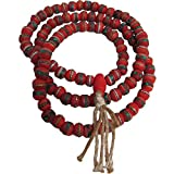 Tibetan Donut Shaped Red Yak Bone Medicine Turquoise and Coral Inlaid 108 Prayer Beads Mala Necklace