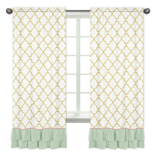 Sweet Jojo Designs 2-Piece Ruffled Mint Coral White and Gold Trellis Girls Window Treatment Panels for Ava Bedding Collection
