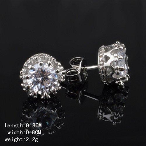 Skyllc® Argento nuziale corona placcato orecchini di diamanti