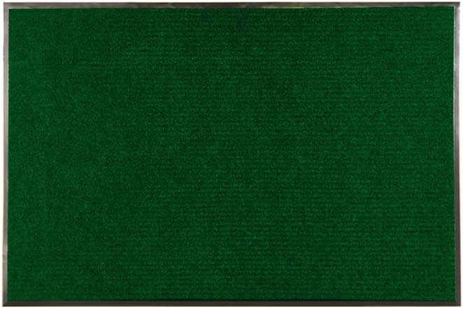 Comfy Feet 36 x 24 Inch Non-Slip Floor Mat, 1 Ribbed Carpet Utility Mat - Indoor and Outdoor, For Homes or Offices, Green Polyester Fibers Entry Mat, Vinyl Backing, Easy To Clean - Restaurantware