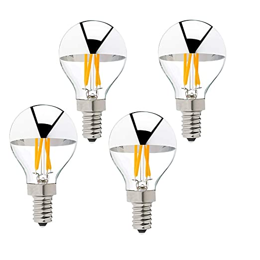 G45 4W Silver Tipped LED Filament Vintage Bulb G14 E12 Candelabra LED Bulb 40 Watt Equivalent 2700K Warm White Dimmable Edison Bulb, 4Pack - - Amazon.com