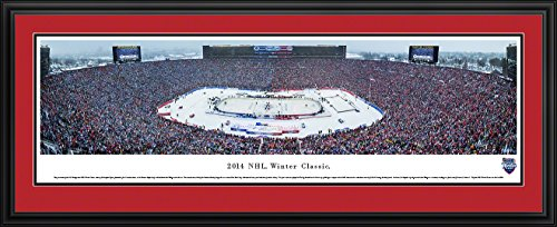 Hockey Art Detroit Red Wings - 2014 NHL Winter Classic (Maples Leafs vs Red Wings) - Blakeway Panoramas NHL Posters with Detroit Deluxe Frame