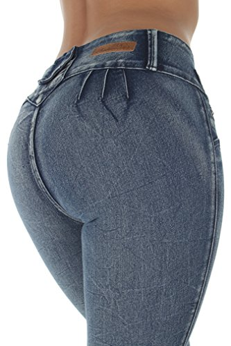 Style E241 - Colombian Design, Mid Waist, Butt Lift, Skinny Jeans in M. Blue Size 3