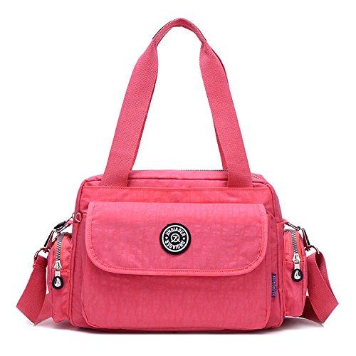 MeCooler Bolso Bandolera Impermeable Bolsos de Mano Mujer Casual Moda Escolares Bolsas de Deporte Bolsos Escuela Ligero Bolsas de Viaje para Tablet Sport Bag Rojo 1