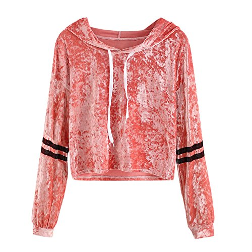 Birdfly Striped Women Long Sleeve Sweatshirt Hooded Crop Top Pullover Tops For Fall (Orange, L) (Cute Outfits Cheap)