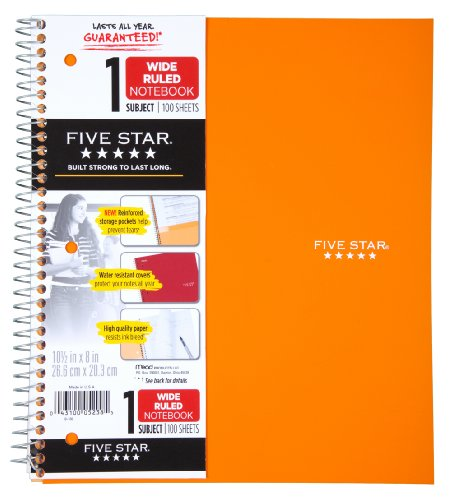 Five Star Wirebound Notebook, 1-Subject, 100 Wide-Ruled Sheets, 10.5 x 8 Inch Sheet Size, Bright Orange (38734)