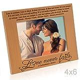 Kate Posh - Love Never Fails - 1 Corinthians 13:4-8 - Wood Picture Frame (4x6-Horizontal)