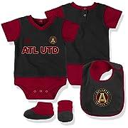 Outerstuff MLS Atlanta United Boys Creeper, Bib & Booty Set, Black, 18 Months