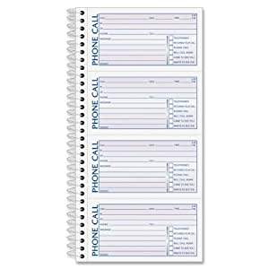 Adams Spiral Bound Phone Message Book, Carbonless Duplicate, 4 Messages per Page, 600 Sets per Book (SC1164D)