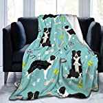 ANJAY Throw Blanket - for Bed Couch Plush Suitable for Fall Winter and Summer (60x80 Inches) Border Collie Tennis 5