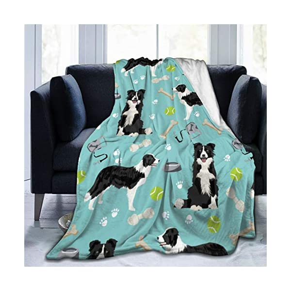 ANJAY Throw Blanket - for Bed Couch Plush Suitable for Fall Winter and Summer (60x80 Inches) Border Collie Tennis 1