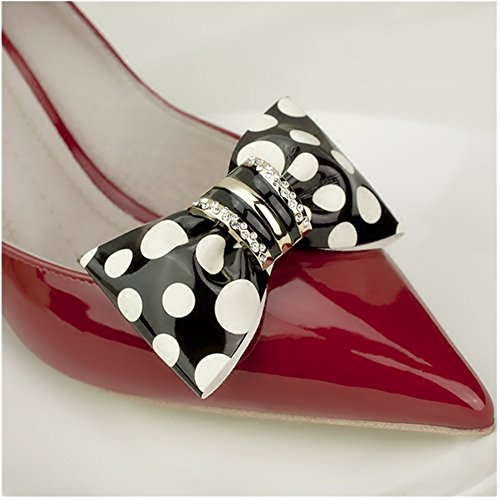 Douqu Clastic Wild Black White Dots Crystal Bow Artificial Leather Shoe Clips Charms Sandals Boots Clips Pair (1#)