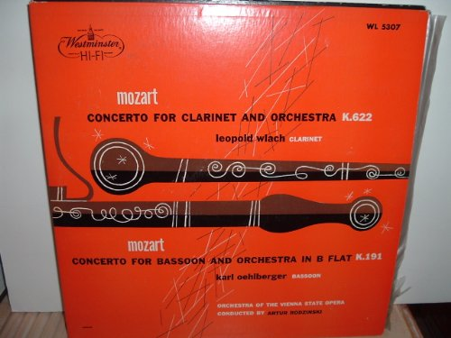 Very Rare: Leopold Wlach, clarinet - Mozart Concerto - 1954 Westminster vinyl LP # WL 5307.