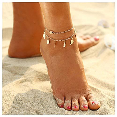 Aukmla Leaf Tassel Anklet Boho Summer Foot Chain Fashion Ankle Bracelet for Women Barefoot Sandal Beach Jewelry Adjustable (Silver)