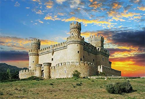 (OFILA Spain Old Castle Backdrop 10x6.5ft Manzanares Madrid Mediaeval Tower Ancient Fort Europa Culture Fortress Landmark Defense Palace Tourism Photos Event Decoration Props)