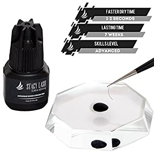 EXTRA STRONG Eyelash Extension Glue Stacy Lash 5 ml / 1-2 Sec Drying time / Retention – 7 weeks / Maximum Bonding Power / Professional Use Only Black Adhesive / for Semi-Permanent Extensions Supplies