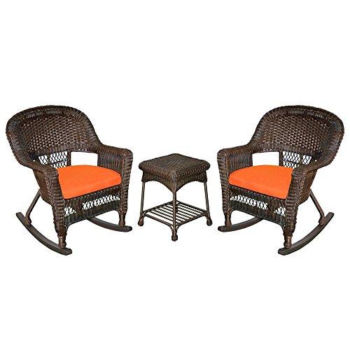 Jeco W00201R-A_2-RCES016 3 Piece Rocker Wicker Chair Set with Orange Cushion, Espresso