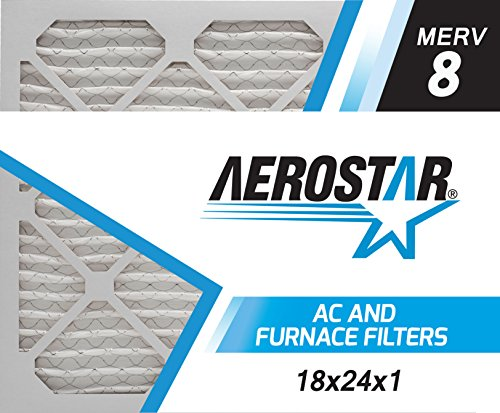 Aerostar 18x24x1 MERV 8, Pleated Air Filter, 18x24x1, Box of 6, Made in The USA