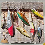 Fishing Lure Shower Curtain Hooks Tomalillin Fish On Hooks Fishing Lure Rods Shower Curtain,Creative Design Bathroom Curtain Sers with Hooks Prefect Gift,Polyester Fabric Bathroom Shower Curtain