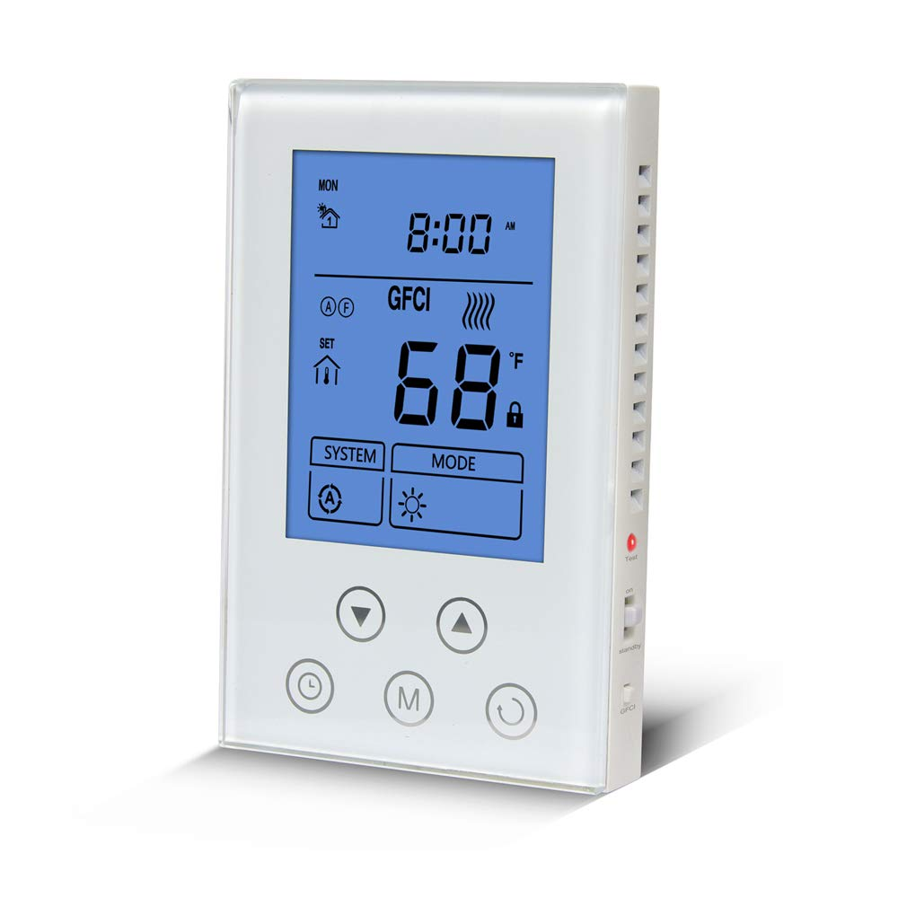 Underfloor Heating Thermostat 120/240V Dual Voltage LCD Display Programmable Build in GFCI with Floor Sensor