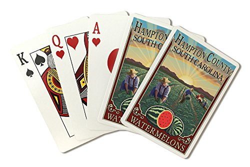 Bedroom South Hampton - Hampton County, South Carolina - Watermelon Field (Playing Card Deck - 52 Card Poker Size with Jokers)