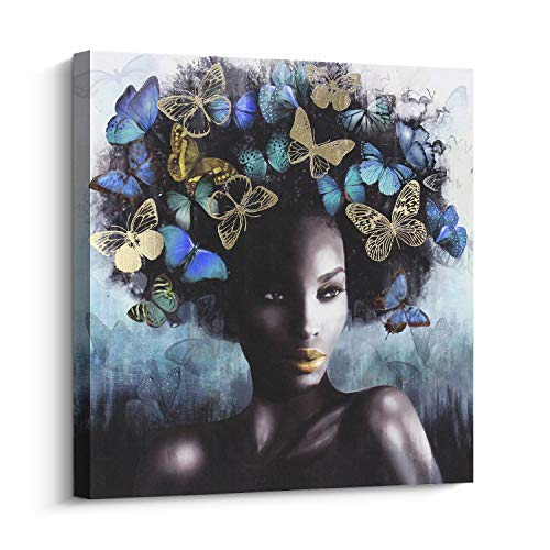 Pi Art Canvas Wall Art Abstract Sexy Beauty with Butterflies Gold and Blue Wall Decor, African American Art Modern Wall Painting for Home Decor Stretched Ready to Hang (24x24 inch, B)