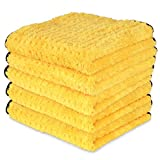 Liquid X Yellow Xtreme Plush Waffle Weave Microfiber Detailing Towel Guaranteed Satisfaction - 16'' x 16'' (8 Pack)