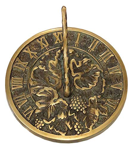 - Rome 2306 Grapevine Sundial, Solid Brass with Verdigris Highlights, 7.5-Inch Diameter