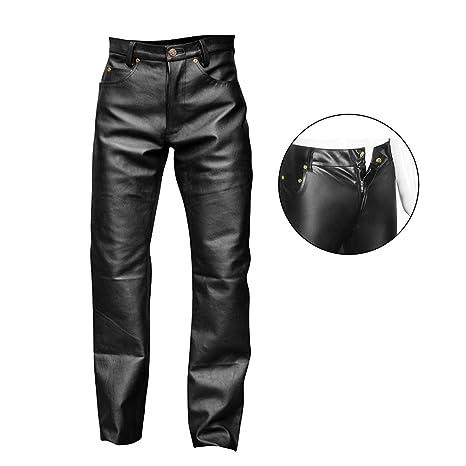 71fb6f1b4cd76 FJLOVE Men Latex Rubber Zentai Faux Leather Leggings Long Pants Wetlook  Catsuit S-XXL