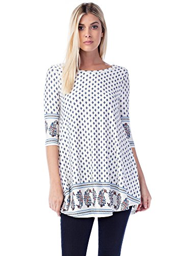 Betsy Red Couture Women's & Plus Size Soft Knit Tunic Top (M, BR-B3165-WHITE/BLUE)