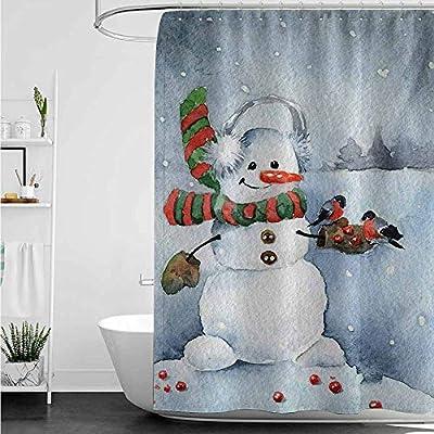 AndyTours - Cortinas para mampara de Ducha, diseño de muñeco de Nieve, Color Azul: Amazon.es: Hogar