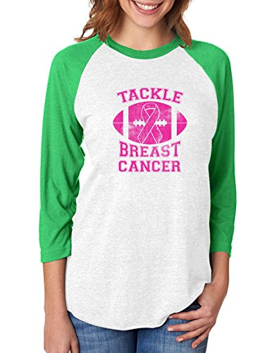 T-shirt Survivor Green - Tackle Breast Cancer Pink Ribbon Support Awareness 3/4 Women Sleeve Baseball Jersey Shirt Small Green/White